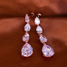 E32645 New elegant white water drop zircon earring zinc alloy rose gold color silver color with Austria crystal fashion jewelry(China (Mainland))
