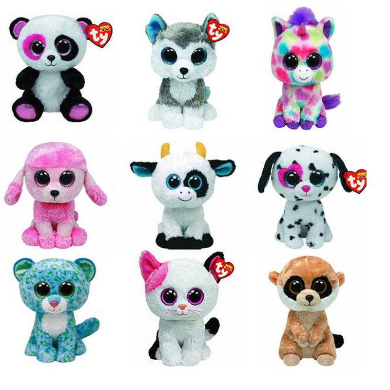 1X Beanie Boos Original TY Big eyes plush toys owl sheep dog cat frog elephant squirrel monkey rabbit tiger(China (Mainland))