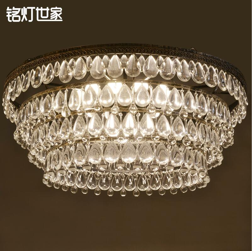 American Country European Iron Art Decor Antique Clear Crystal Ceiling Lights Dinning Room Hall Way Ceiling Lightings(China (Mainland))