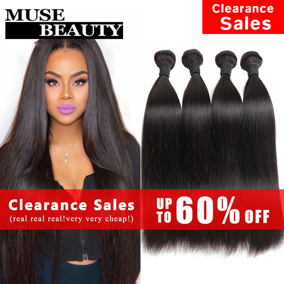 10A Unprocessed Indian Virgin Hair Straight 4 Bundles Muse Beauty Hair Products Indian Straight Hair Weave Human Hair Extensions(China (Mainland))