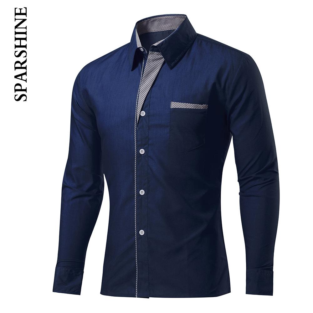 New Fashion Casual Men Shirt Long Sleeve Turn Down Collar Slim Fit Camisa Masculina Male Korean Business Mens Dress Shirts(China (Mainland))