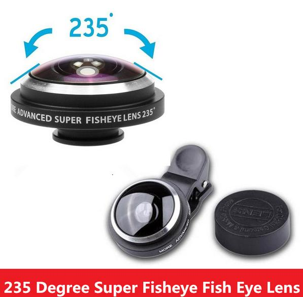 Universal Super Cell Phone Camera Circle Clip Fisheye Fish Eye Lens 235 Degree For IPhone Samsung HTC LG Android Phone(China (Mainland))
