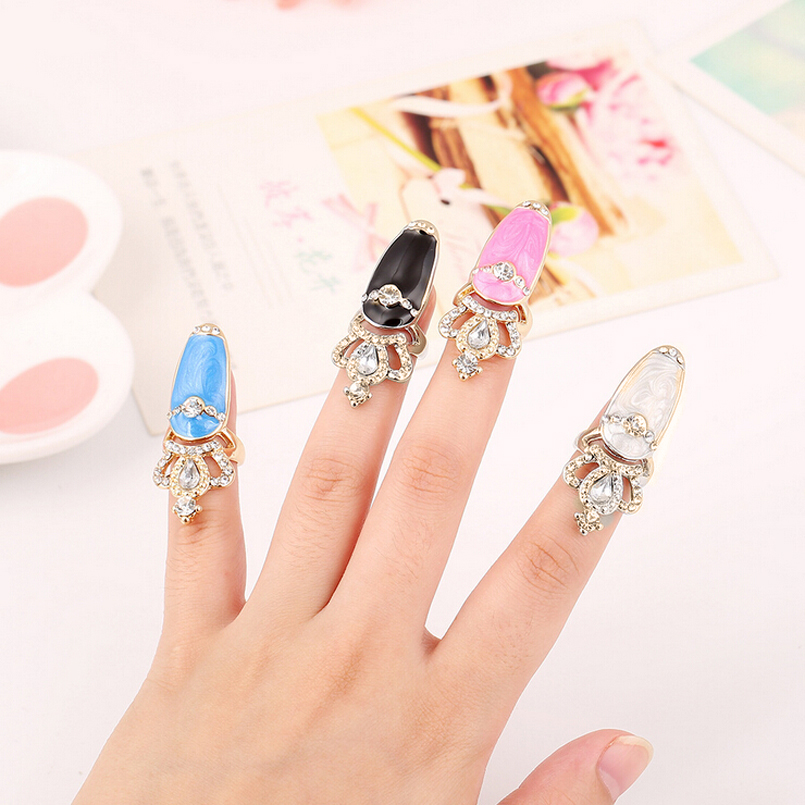 Women New Elegant Shiny Rhinestone Crystal Crown Ring Enamel Glazed Top Of Finger Tip Cover Nail Ring Gold Jewelry Bijoux Size 3(China (Mainland))