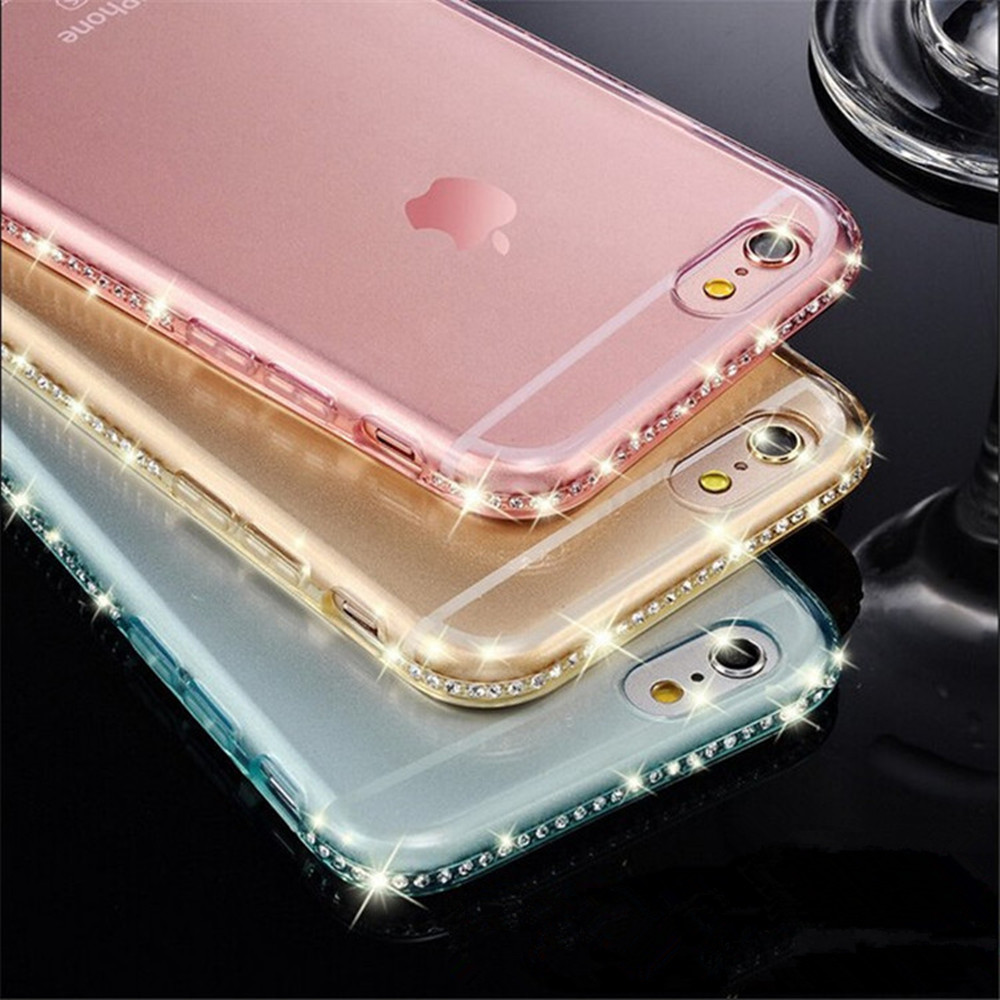 New ! Luxury Ultra Thin Crystal Diamond Bling Gel Transparent Phone Case Cover for iPhone 5 5S 6 6S Plus Cover case back bags(China (Mainland))