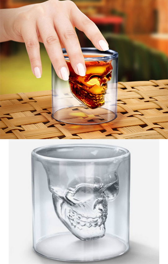 Creative Designer Skull Head Shot Glass Crystal Pirate Double Glass Whiskey Drinking Skull Cup(China (Mainland))