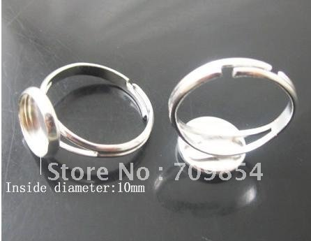 free shipping Bulk 300pcs lot 10mm pad sterling silver plated ring base with glue on adjustiable
