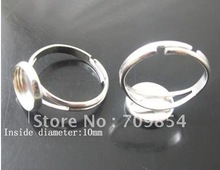 free shipping!!! Bulk 300pcs/lot 10mm pad sterling silver plated ring base with glue on adjustiable jewelry findings