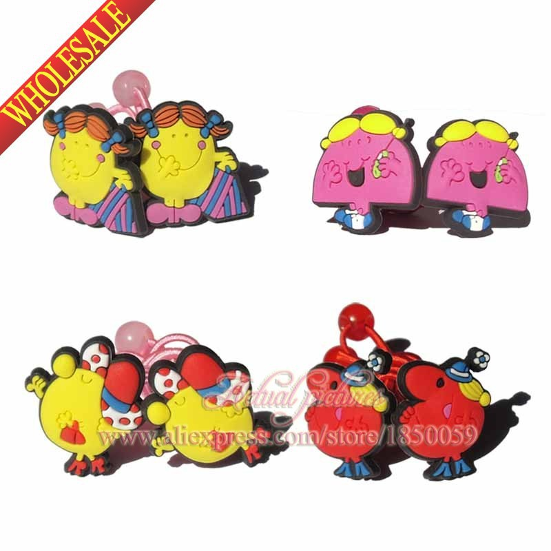 New Arrival 4pairs Mr Man & Little Miss hair ornament Children Accessories Kids Elastic Hair bands Hair Tie Rubber Hair Band(China (Mainland))