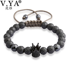 Buy V YA Crown Bracelets Men Women Luxury Jewelry Fashion Men's Watch Bracelet Natural Stone Bead Lace Bangle for $6.71 in AliExpress store