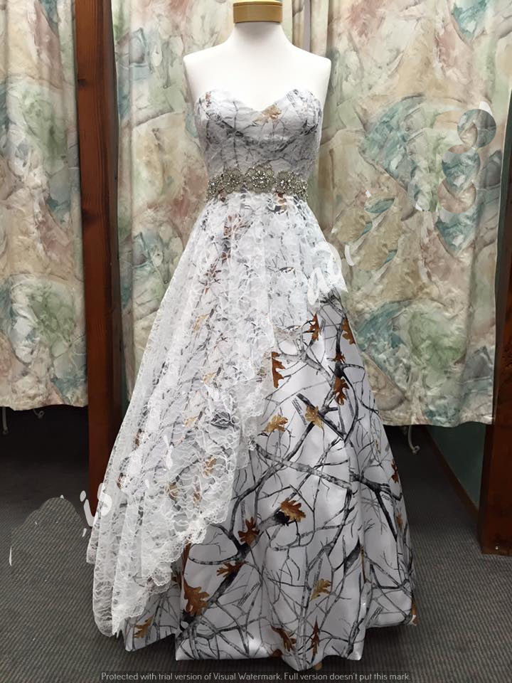 Free shipping new strapless true timber lace white camo for Wedding dresses camouflage pink