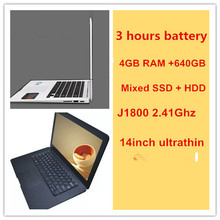 14inch  notbook laptop computer 1920*1080 HD 4GB ddr3 640GB 6 cells battery USB 3.0 mixed SSD&HDD driver disks(China (Mainland))