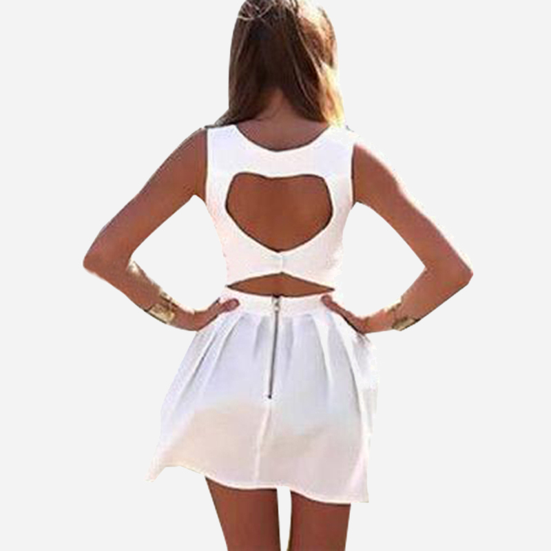 New 2015 Summer Sexy Heart Open Cut Out Back Backless Cocktail Party Mini Dress White/Blue/Black Sleeveless Vestidos LQ8706D(China (Mainland))