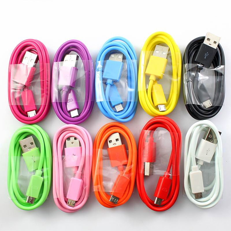 1M 3FT Colorful V8 Micro USB Sync Data Charger Charging Cable Cord For Samsung LG HTC Motorola Android Cell Phone Tablet