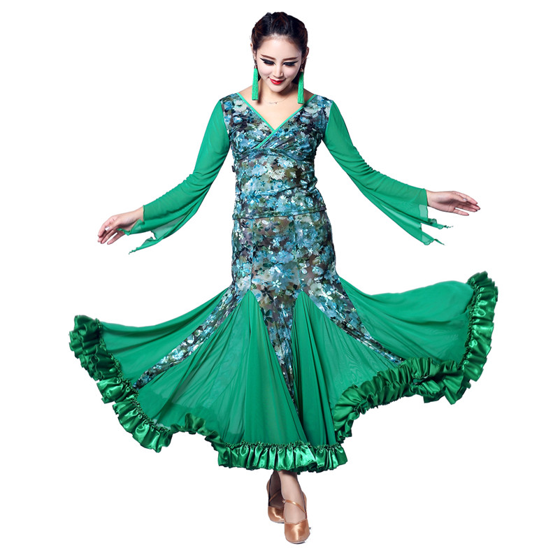 2015 Ballroom Woman Modern Dance Dress Practice Dancing Shirt Costume Long Sleeve Gourd 4 Color Velvet Costumes Free Shipping<br><br>Aliexpress