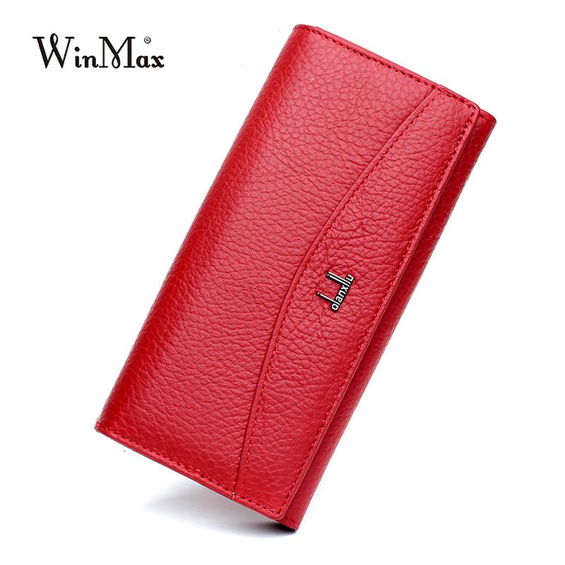 Winmax Luxury Brand Women 100% Genuine Leather Wallet Women High Coin Purse Female Long Clutch Card Money Holder
