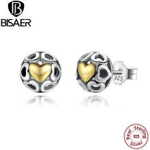 Buy 925-Sterling-Silver Love Openwork Heart Stud Earrings Women Brincos Compatible Sterling Silver Fine Jewelry Bijoux for $4.22 in AliExpress store