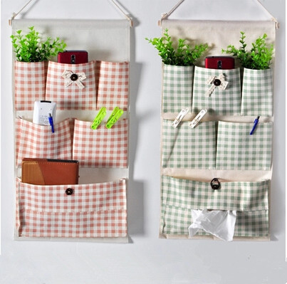 2015 New arrival 6 pockets pumping paper bag on wall hanging style storage bag magazine pockets Orange Grid(China (Mainland))