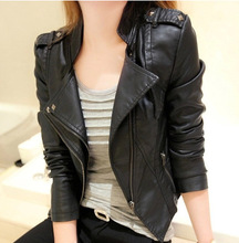 2015 New fashion Summer style Women Slim Short Genuine Leather Jacket  Zipper Motorcycle shoulder mark Solid Color Free Shipping(China (Mainland))