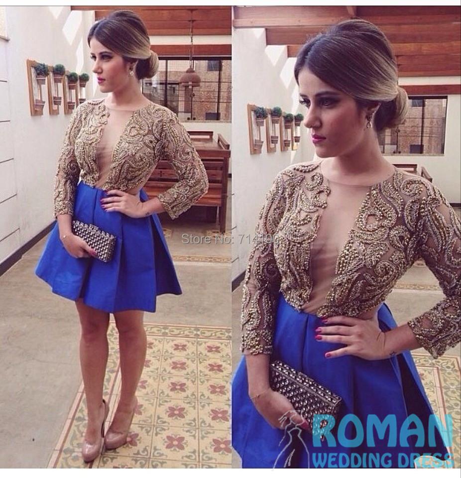 Lovely line Blue Satin Pleat Jewel Neck Long Sleeves Top Heavy Beaded Mini Length 2014 Homecoming Dresses Girls  -  Sheepherder Store store