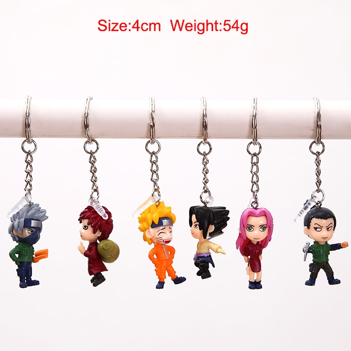 6pcs/set 4cm Naruto Kakashi Sasuke Gaara Figure Keychain PVC Action Figure Japan Anime Collections Gifts Toys #F(China (Mainland))