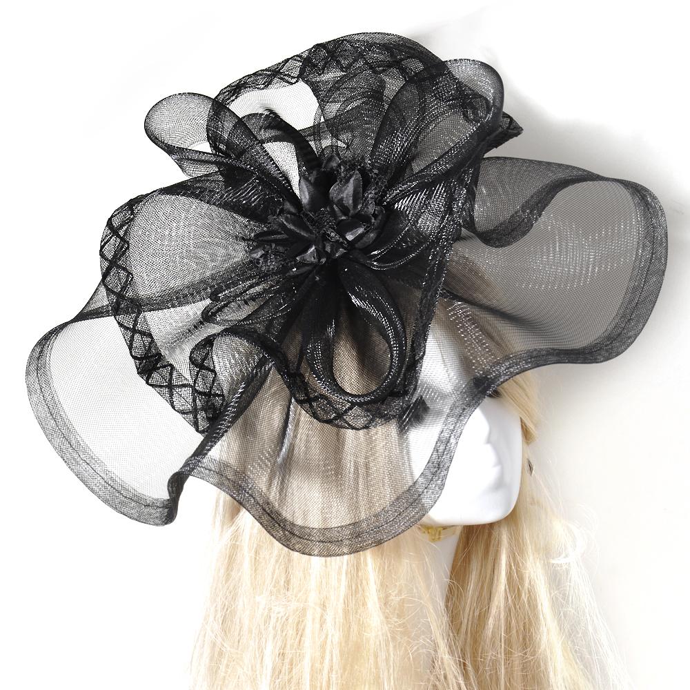 Black Flower Hair Accessory J7213: Black Wedding Flower Fascinators Hair Clip Net Large Hat