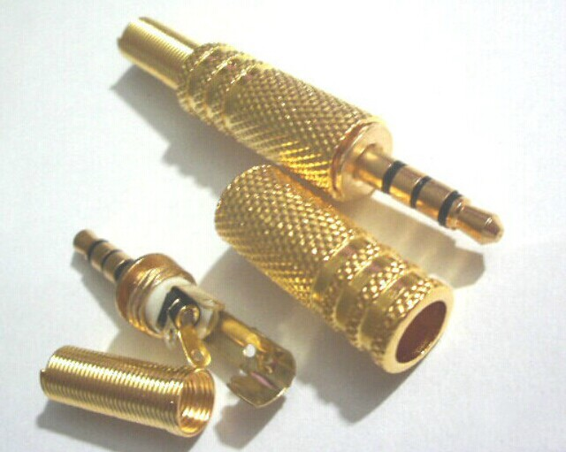 Free shipping 10pcs Gold plate Stereo 4 Pole Male 3.5mm Jack Plug Audio connector headphone(China (Mainland))
