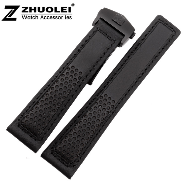 2014 New Arrvial 22mm New High Quality Black Genuine Leather Watch Band Strap Black Steel Depolyment Clasp Buckle<br><br>Aliexpress