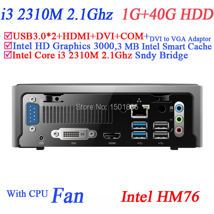 China mini computer mini linux embedded pc with Intel Core i3 2310M 2.1Ghz 1G RAM 40G HDD micro pc(China (Mainland))