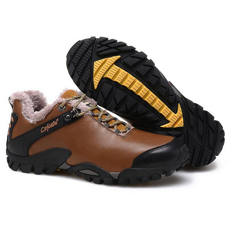 39-46 Plus Size Winter Men Shoes Fur Outdoor Genuine Leather Shoes Men Winter Shoes Flats Anti-Skidding High Quality US11 US12