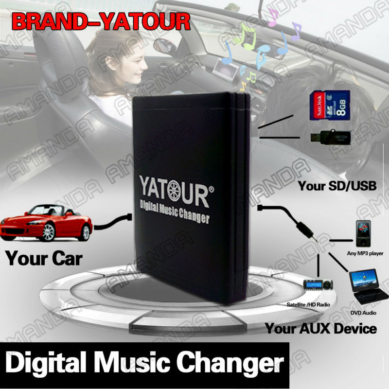 YATOUR CAR DIGITAL MUSIC CD CHANGER AUX MP3 SD USB ADAPTER ROUND 17PIN CONNECTOR FOR BMW E46 1994-2006 BUSINESS RADIOS(China (Mainland))