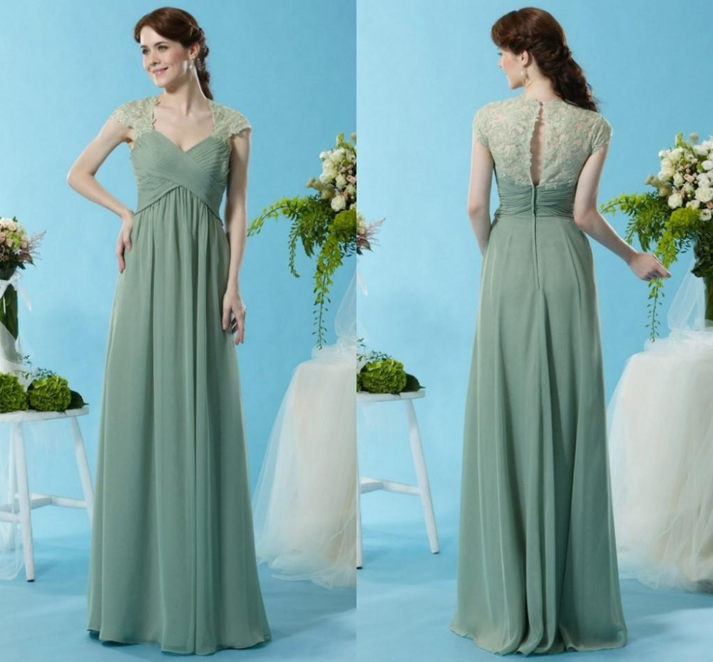 Chiffon long lime green bridesmaid dresses 2015 sage green for Maid of honor wedding dresses