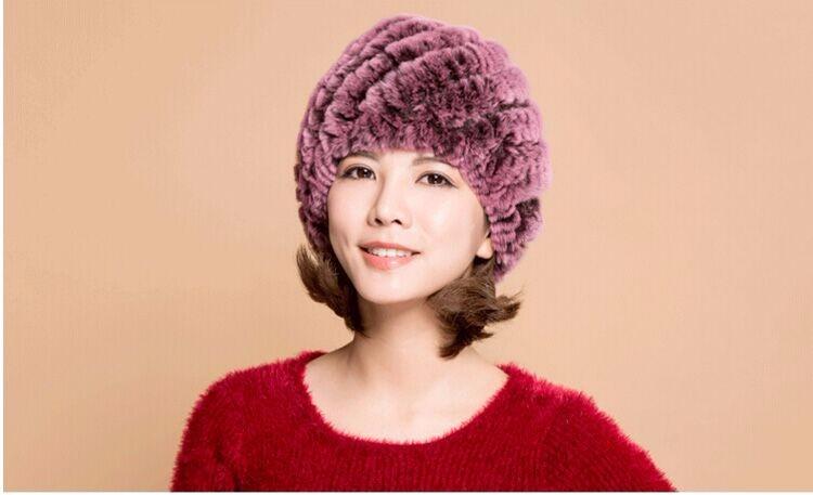 Hat female winter tide tide warm winter hat wool hat real fur rabbit ear double in the elderly