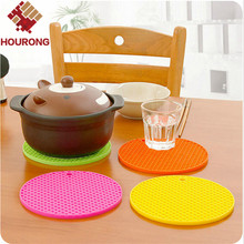 Hourong 1Pc Round Silicone Mat Placemat Non-slip Heat Resistant Dining Table Mat Cup Coaster Hung Pad Kitchen Gadget Accessory(China (Mainland))