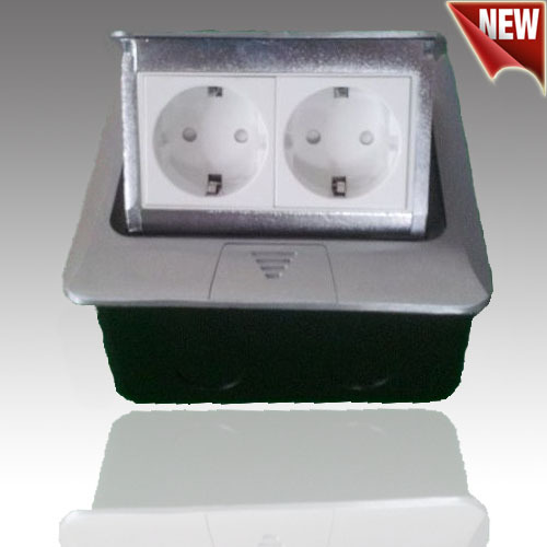 New 2 European floor socket with press switch Made By Iron Silver/Yellow<br><br>Aliexpress
