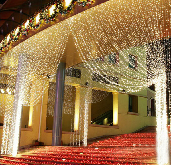 New year 220V RGB 300 LEDS 3M*3M LED Curtain Waterfall Xmas Party Chistmas Decoration Holiday Lights Free Shipping(China (Mainland))
