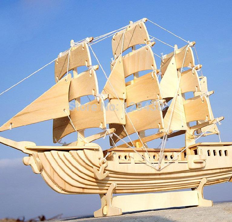 Wooden Educational Scale Model & Building European Sailing Boat Ship 3D Puzzle DIY(China (Mainland))