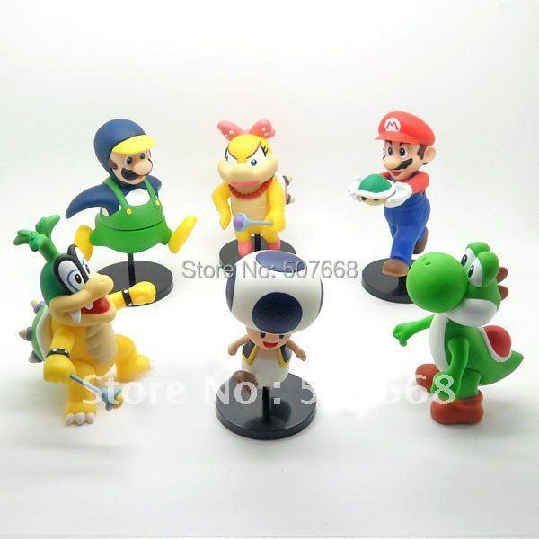 Free Shipping 6 Super Mario Bros Wii IGGY Wendy'o KOOPA Luigi Yoshi Toad Figures 12 CM Wholesale And Retail