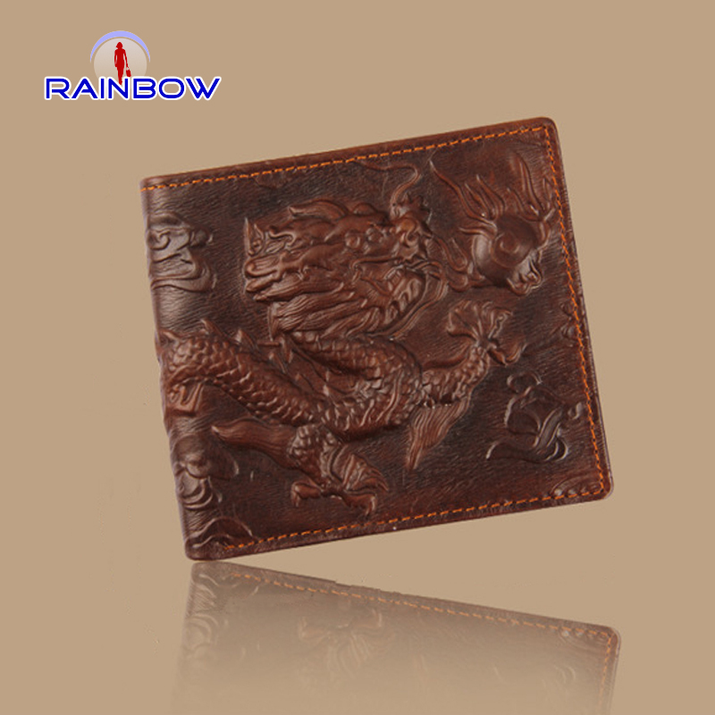 New hot sale genuine leather dragon men's wallets two colors designer famous brand short chinese styles purses high quality(China (Mainland))