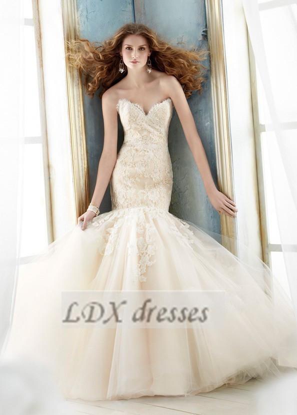 Trumpet Wedding Dress Tulle : New elegant white ivory tulle applique mermaid