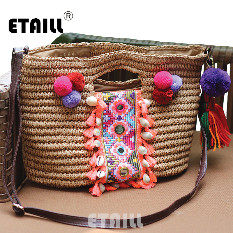 2016 Fashion Summer Designers Straw Woven Beach Bag Famous Designer Brands High Quality Indian Bohemian Thailand Tassel Handbag(China (Mainland))