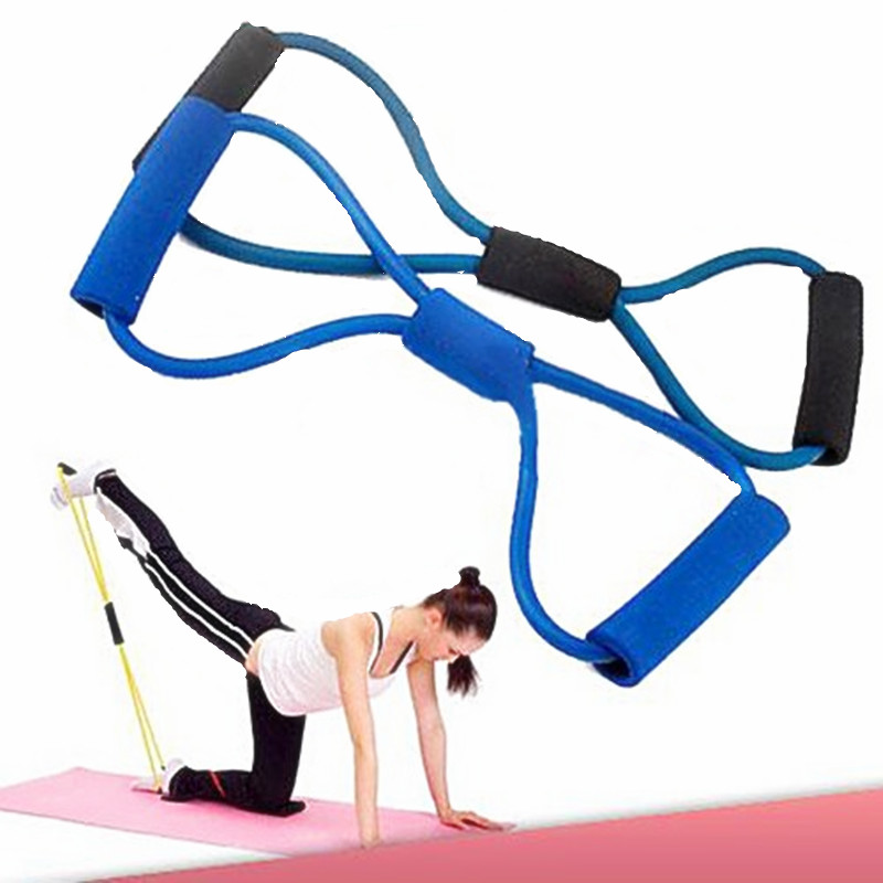 8 Shaped Training Resistance Bands Rope Tube Workout Exercise for Yoga Fashion Body Fitness Equipment Tool (Random Color)(China (Mainland))