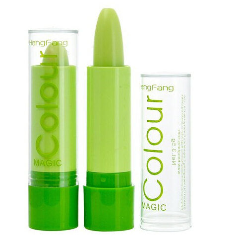 on sale,Free shipping,Magic Change Color Lipstick Green paste change color turn into pink 2015 hot sale(China (Mainland))