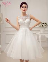 Luxurious Elegant Satin White/Ivory Bridal Wedding Dresses with Beads Tea Length Wedding Reception Dresses Vestido De Noiva(China (Mainland))