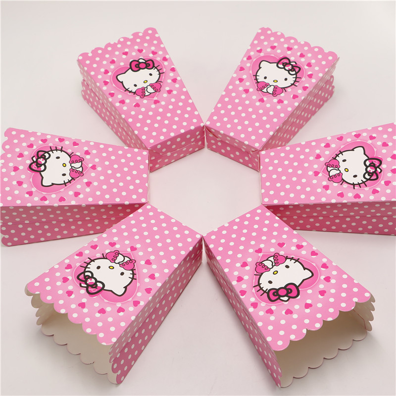 New 12pcs/lot Hello Kitty Party Supplies Popcorn Box Gift Box Favor Accessory Birthday Party Supplies Kids Event&Party Supplies(China (Mainland))