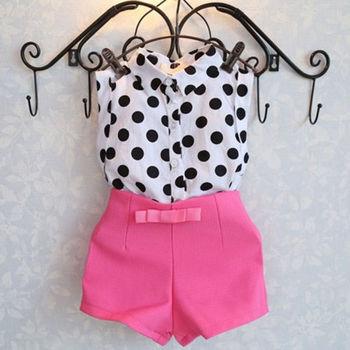 2pcs Baby Clothing Set Girl Child Kid Polka Dot T-shirt Tops + Pink Pants Shorts