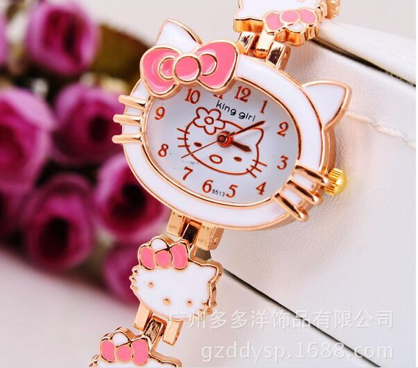 2016 New Hello Kitty Watches Fashion Ladies Quart Watch Vintage Kids Cartoon Wristwatches Analog King Girl Brand Quartz women(China (Mainland))