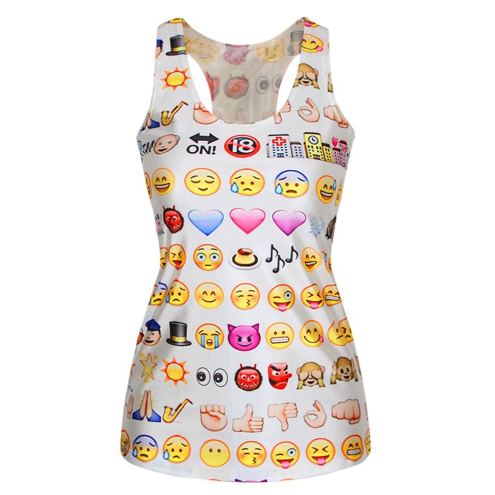 Common expressions sleeveless big yards Waichuan word tanks sports personality in the long section printed tanks(China (Mainland))
