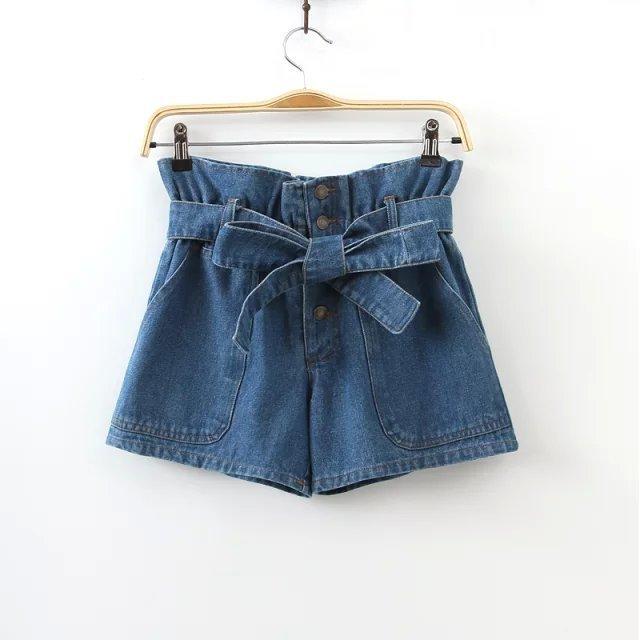 Женщины лук галстук джинсовые шорты стильные джинсы классический синий карманы эластичный ...