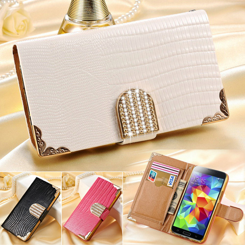 S5 Mini Shining Wallet Leather Case For Samsung Galaxy S5 mini G800 Card Holder Rhinestone Flip Phone Bag Magnetic Buckle Cover(China (Mainland))