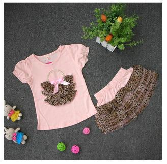Free shipping Baby girls suits short sleeve t-shirt +leopard tu tu skirt 2pcs sets children fashion suits<br><br>Aliexpress